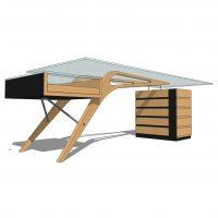 Houten bureau ontwerp meubelmaker Den Haag